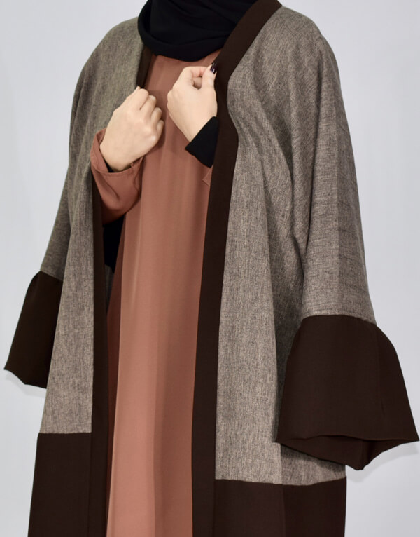 Open Oversized Brown Winter Abaya